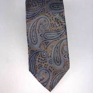 Canterbury Tie paisley blue and gold jacquard